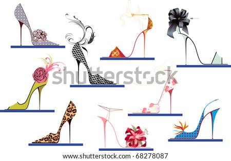 Shoes high heels - stock vector