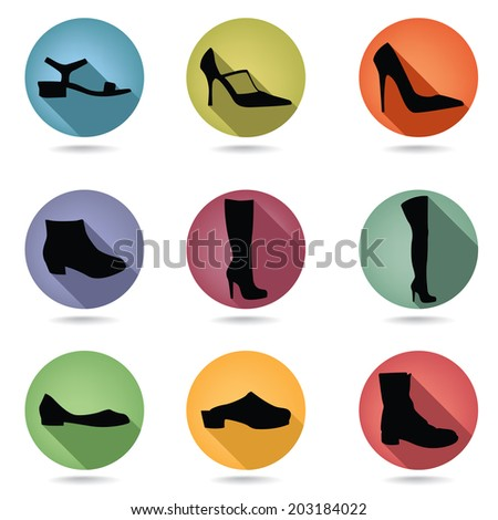 Shoes icon set. Fashion boots button collection. - stock vector