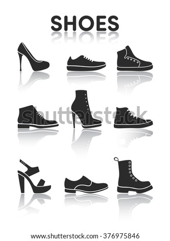 Shoes icons black and white - stock vector
