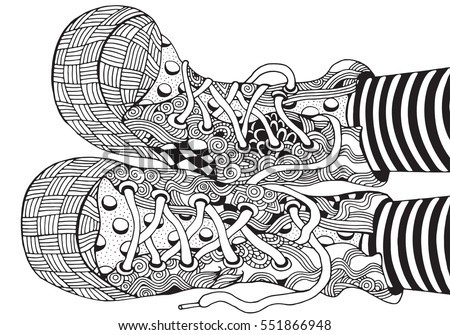 Shoes In Zentangle Style Hand Drawn Sneakers Pattern For Adult Coloring Book