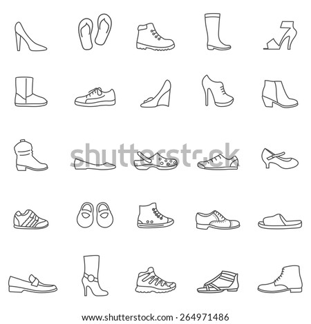 Shoes line icons set. Vector - stock vector