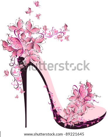 Shoes on a high heel decorated with butterflies - stock vector