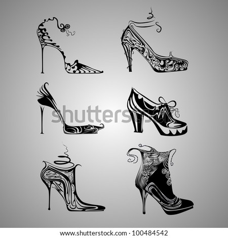 shoes set vector - stock vector