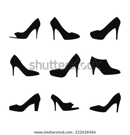 Shoes silhouettes - stock vector