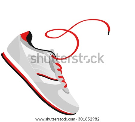 shoes with a lace. vector illustration - stock vector