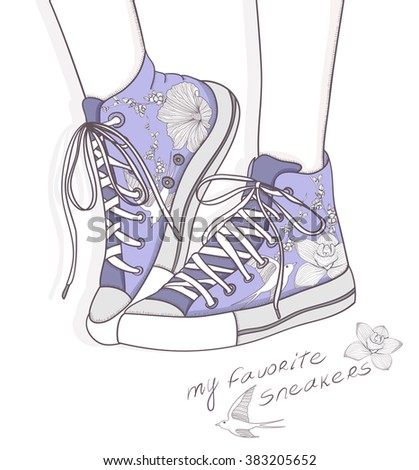 Shoes with floral pattern. Background with fashionable hipster sneakers.  - stock vector