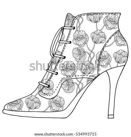 Shoes Floral Pattern Black White Line Stock Vector 534993715