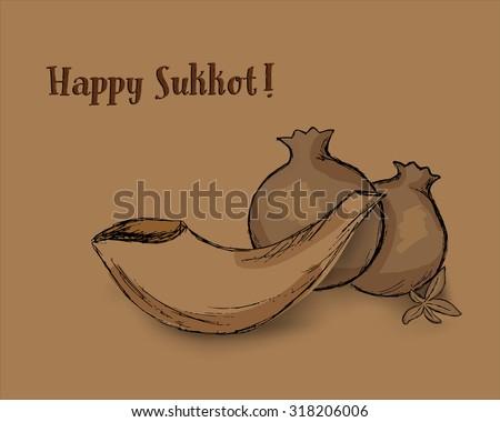 Shofar and pomegranates. Congratulation - Happy Sukkot. Vector illustration EPS 10 monochrome - stock vector