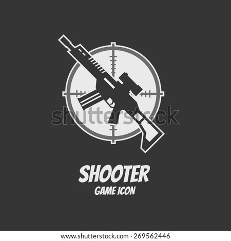 Shooter or action game icon. Rifle assault. Vector illustration - stock vector