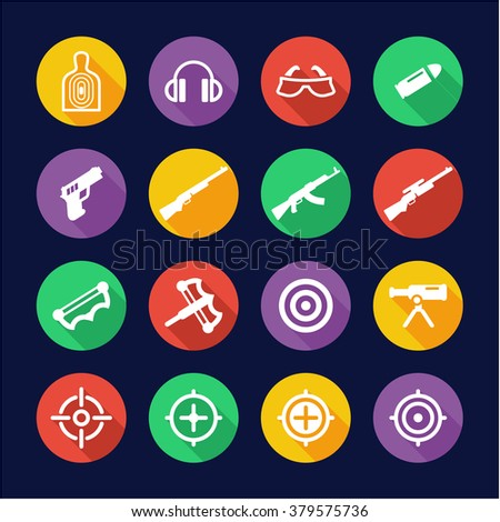 Shooting Range Icons Flat Design Circle - stock vector