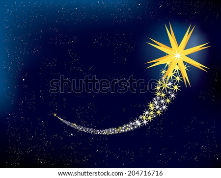 Shooting star in the night sky. EPS 10 - stock vector