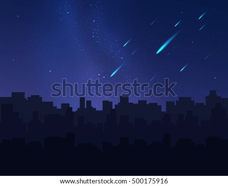 Shooting stars, meteors and comets in night sky above city buildings. Vector illustration.