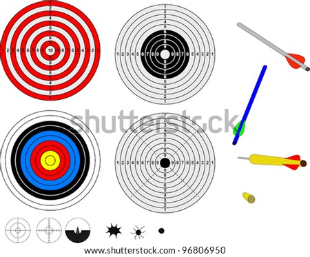 Shooting targets, impacts and projectiles - stock vector