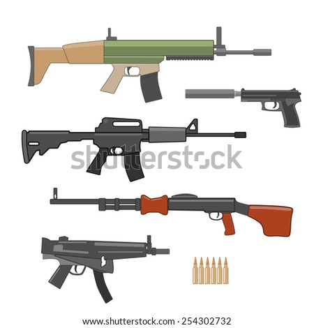 shooting weapons set. vector