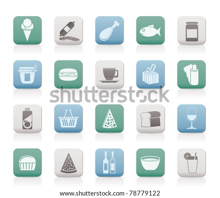 Shop and Foods Icons - Vector Icon Set - stock vector