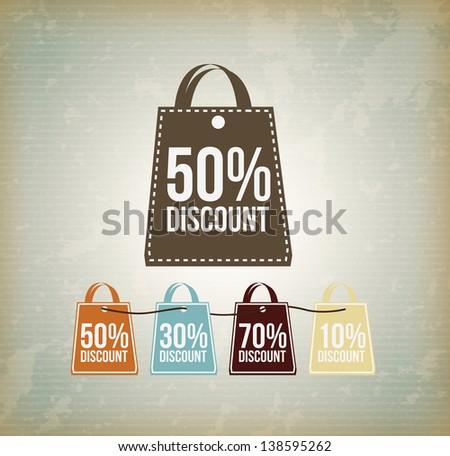 shop bag discount over vintage background vector illustration - stock vector