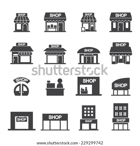 shop building icon set - stock vector
