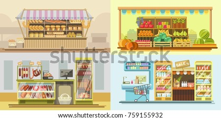Shop counters or store supermarket product display vector flat design