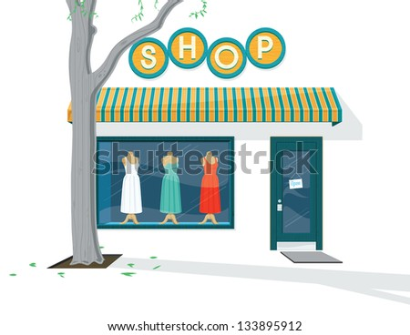 Shop Exterior. Vector illustration of the Exterior of a dress shop. It was created in Adobe Illustrator and was saved out as an .eps 10 file. Some transparencies were used. - stock vector