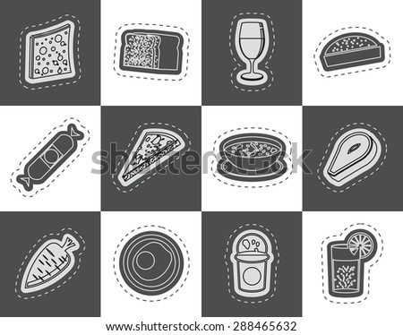 Shop, food and drink icons 2 - vector icon set - stock vector
