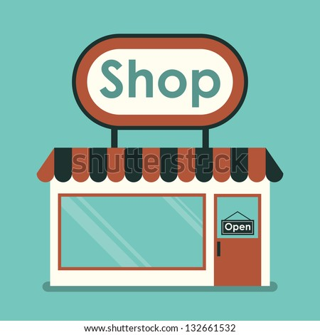 Shop Front. Exterior horizontal windows empty for your store product presentation or design. - stock vector