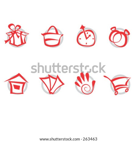 Shop icons set - stock vector