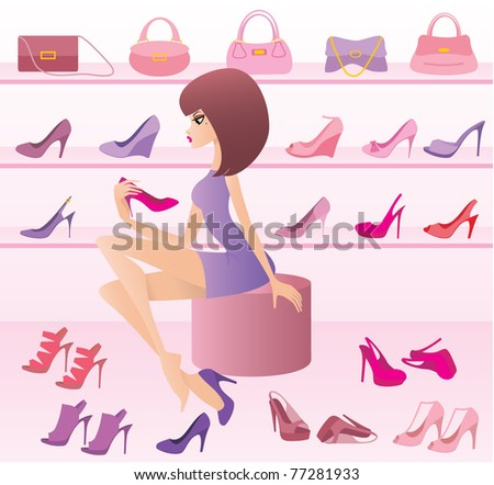 Shop of female footwear. vector, gradient - stock vector