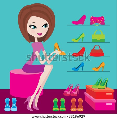 Shop of female footwear. vector, no gradient - stock vector