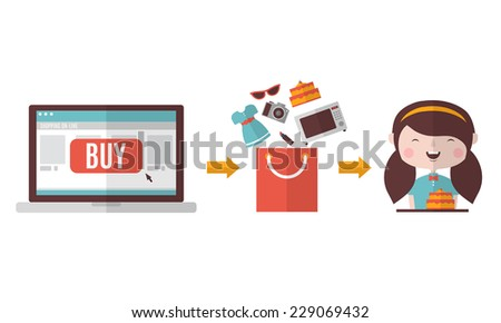 Shop on-line - stock vector