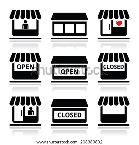 Shop or store, supermarket vector icons set - stock vector