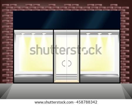 Shop showcase and entrance. Bricks vector glass store  - stock vector