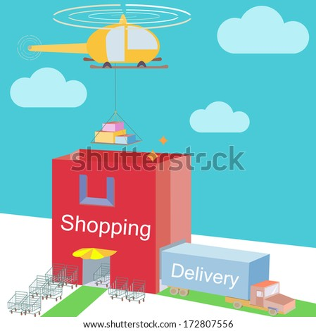 Shop storehouse as Shopping Bag Commerce and various logistic cargo shipping with carts near enter Isometric Flat design with clouds on background vector Illustration  - stock vector