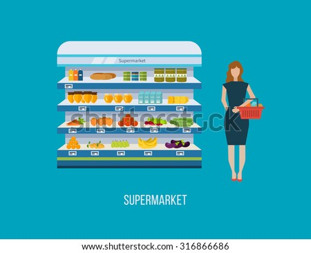 Shop, supermarket interior shelf with fruits, vegetables, milk, honey, drinks, preserves. Healthy eating and eco food. Flat isolated vector illustration - stock vector