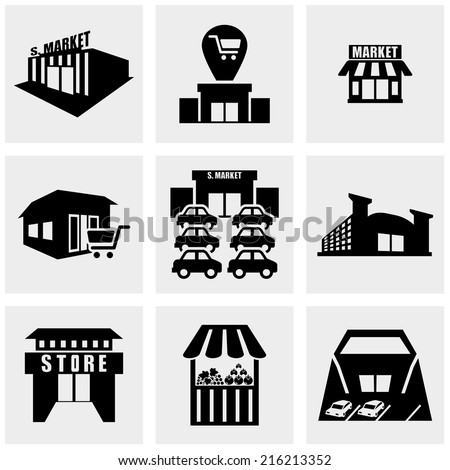 Shop,supermarket  vector icons set on gray  - stock vector