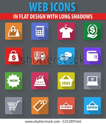 Shop web icons in flat design with long shadows