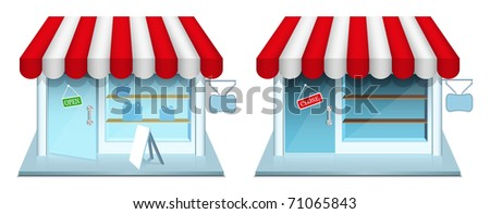 Shop with closed and open door. Vector Icons. EPS8.