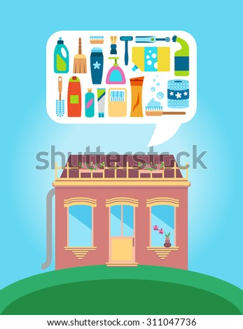 Shop with collection of different body care supplies - stock vector