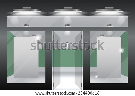 Shop with glass windows and doors, front view.Part of set. Vector exterior. - stock vector