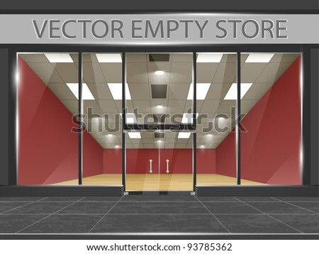 Shop with glass windows and doors, front view. Part of set. Vector exterior. - stock vector