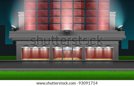 Shop with glass windows and doors, front view. Part of store set. Vector exterior. - stock vector