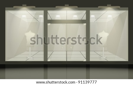 Shop with glass windows and doors, front view. Vector exterior. - stock vector