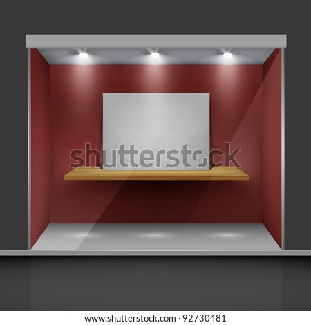Shop with glass windows and open doors, front view. Part of set.  Vector exterior. - stock vector