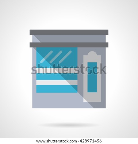 Shop with showcase. Sale of tea. Street marketing. Commercial architecture and buildings. Storefronts and showcases. Flat color style vector icon - stock vector