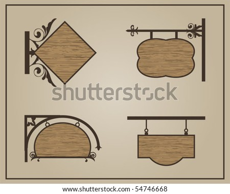 Shop wood signs - stock vector