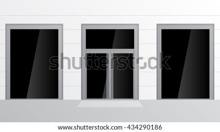 Shopfront with large windows. Shop Boutique store with Place for Name - stock vector