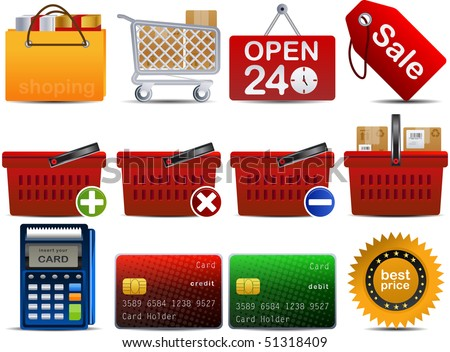 shoping set of 12 icons part 2 - stock vector