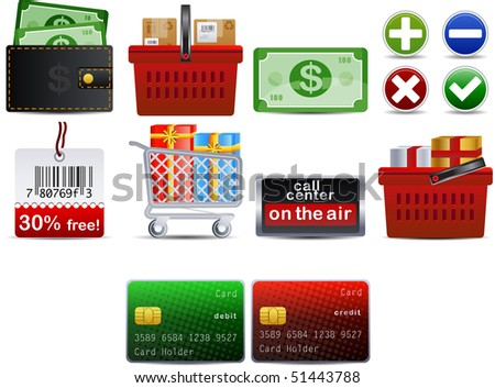 shoping set of 10 icons part 3 - stock vector