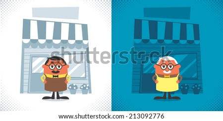 Shopkeeper: Illustration of cartoon shopkeeper in 2 color versions. No transparency and gradients used.  - stock vector