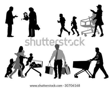 shopper silhouettes, collection for designers - stock vector