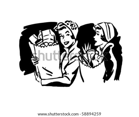 Shoppers With Groceries 2 - Retro Clip Art - stock vector